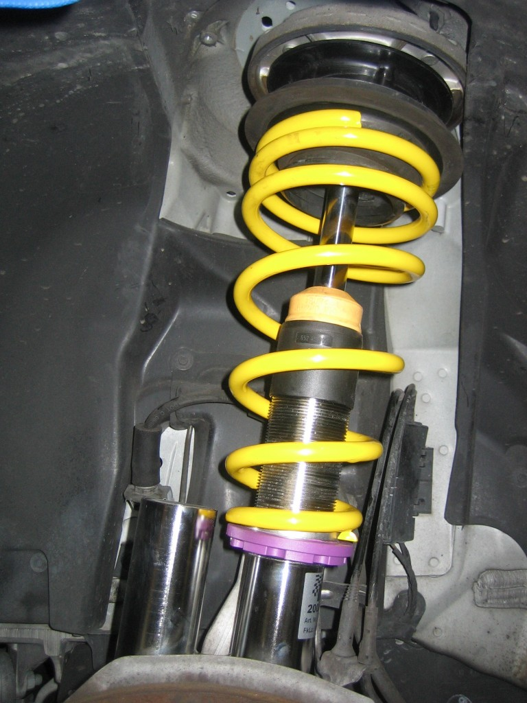 Shiny new stainless steel body KW Variant 3 coilovers.